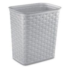 Sterilite 1034 Weave Wastebasket Trash Can Plastic Wicker Look 3.4 Gal, Cement