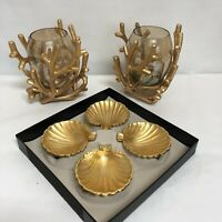 Regency Golden Tiki Bar 4 Metal Clam Shell Ashtray 2 Candle Holder Branches