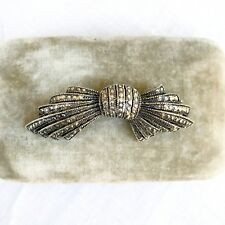 Antique Large Cut Steel Bow Brooch