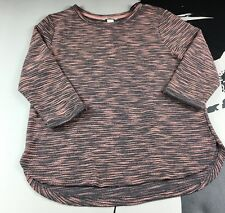H&M Womens Pink Gray 3/4 Sleeve Sweater Top High Low Hem Size Small
