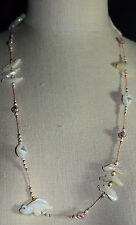 VTG Southwest Tribal Fetish Animal Mother of Pearl Rose Art Glass Bead Necklace