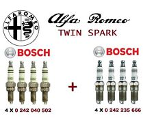 Set of 8 New Genuine BOSCH Spark Plugs for Alfa Romeo Twin Spark engine