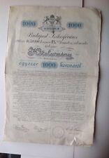 Budapest Obligation De 1000 Couronnes