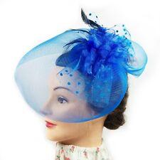 Fascinator - Flower Net Mesh Hair Clip (Blue)