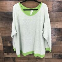 Green Tea Women's White & Green Floral Long Sleeve Pullover Top Size 4XL
