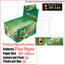 Zig Zag Green Kingsize Cigarette Smoking Papers - 50 Packs Box