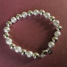 """8""""/21cm x 8mm Frosted+Smooth Silver Pltd Ball Chain Bracelet, FREE Velvet Pouch"""