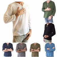 Men's Hippie Shirt 100% Cotton V-Neck Beach Summer Yoga Top Soft Cotton Fashion