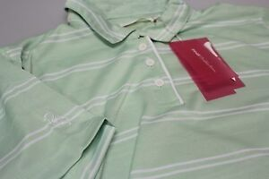 Ping Collection Ladies Short Sleeved Golf Polo Shirt Med 12 Green + White Stripe