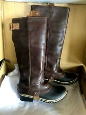 RARE SOREL SLIMPACK TALL Rain Boots Women 7.5 LEATHER Nutmeg Brown EXCELLENT