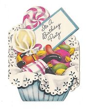 UNUSED Vintage Greeting Card Birthday Party Invitation Candy Jelly Beans L16