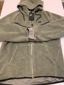 Nike Tech Fleece Sherpa Windrunner Jacket Green AQ2767-004 Mens Size Medium New