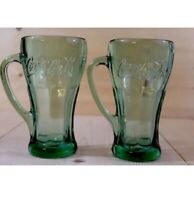 2 Libbey Coca Cola Glass Mugs Vintage Green Tinted Coke NEW OLD STOCK RARE