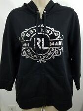 women's Polo Jean company Hoodie big logo silver and black R1363