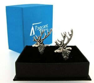 Stag English Silver Pewter Cuff Links in Presentation Gift Box