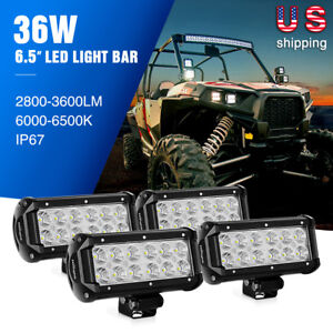 Nilight Led Light Bar 4PCS 6.5Inch 36W Flood Beam Driving Fog Light for Jeep 4WD