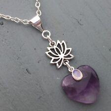 Amatista Corazón & Arco Iris Flor De Loto Colgante Chakra Reiki tercer ojo