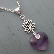Amethyst Heart & Rainbow Moonstone Lotus Flower Pendant Chakra Reiki THIRD EYE