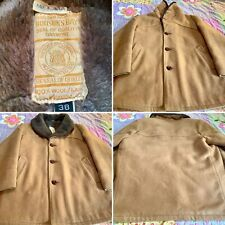 Vintage Hudson's Bay Men's Wool Coat, Leather Buttons, Very Nice! Sz/*38 Larger