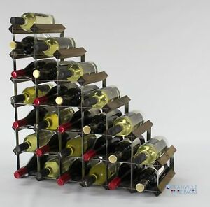 Cranville wine rack storage 27 bottle Walnut stain wood and metal assembled