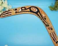"Vintage Hand Carved & Painted Australian Boomerang Kangaroo 17"" Across"