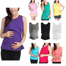 Women Pregnant Maternity Clothes Nursing Tops Shirt Breastfeeding Vest Blouse