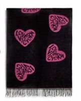 "New Victoria's Secret Black Friday 2018 Throw Blanket 50""x 60"" Black Pink Hearts"