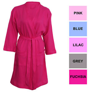 Womens Ladies Soft Jersey Waffle 100% Cotton SPA Dressing Gown Bath Robe Pockets