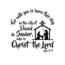 Unto you is Born Unmounted Rubber Stamp Luke 2:11 verse Religious Nativity #26
