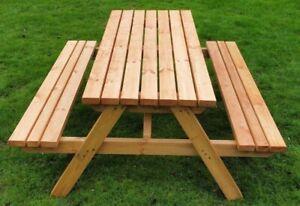Wooden Picnic Table, 4ft 5ft 6ft 7ft 8ft
