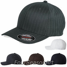 Flexfit Pinstripe Fitted Baseball Cap Plain Original Hat Ballcap S/M L/XL 6195P