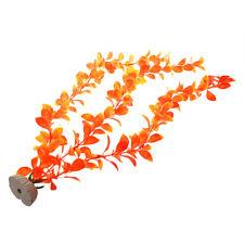Orange Bush Leaves Plastic Plant Ornament for Fish Tank E6W1