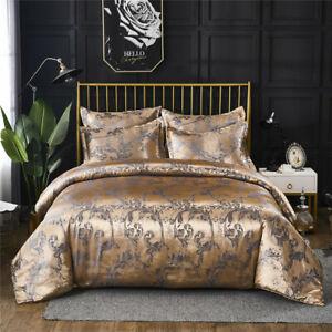 European Satin Floral Jacquard Silky Duvet Cover Bedding Set Single Double King
