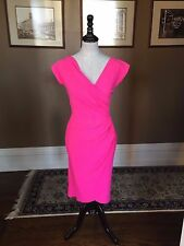 $695 LA PETITE ROBE DI CHIARA BONI CHERYL DRESS IN HOT GLOSSY PINK  SZ 44/8 NWT