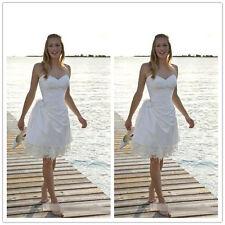 Sexy Sweetheart Satin Short Beach Wedding Dresses Knee Length Mini Bridal Gowns