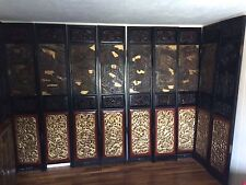 Amazing Antique Chinese Coromandel screen Room divider 10 panel carved Gold wood