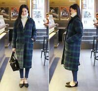 Women's Single-Breasted Trench Coat Loose Plaid Overcoat Wool Blend Outwear Long