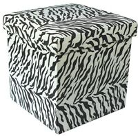 Ottoman Zebra Print Pouffe Storage Box Can be Sat On up to 150kg