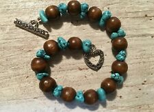 Turquoise Color Wood Bead Bracelet Heart Toggle Clasp