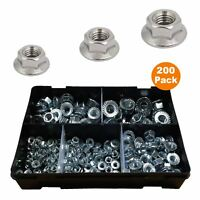 200 x Assorted Flanged Serrated Hex Nuts fits Metric Bolts, Bright Zinc Plated