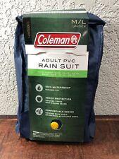 """Coleman Navy Blue Adult PVC M/L Rain Suit, Chest 38""""-44"""", Waist 32""""-38"""", b9"""