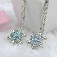 Charms Princess Blue Crystal Snowflake Flower Silver Necklace Pendant Jewelry