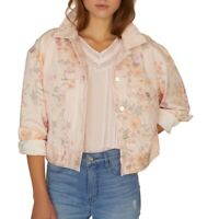 Sanctuary Womens Jacket Pink Size XS Denim Cropped Floral Printed $139 075