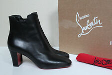 sz 10 / 40.5 Christian Louboutin Tiagada Black Leather Red Sole Ankle Boot Shoes