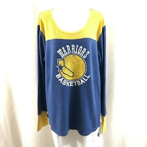 NBA Golden State Warriors Womens Thermal Top Throwback Retro Blue Yellow Size 3X