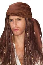Pirate Wig With Attached Bandanna Brown Synthetic Hair With Beaded Braids OS
