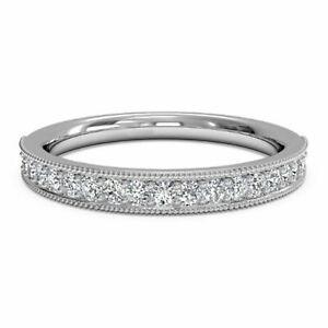 0.30 Carat Diamond Engagement Bridal Band 18K Solid White Gold Ring Size M N P Q