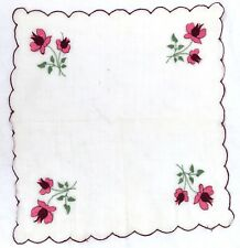 Vintage 1950's Hand Embroidered Floral Bridal Handkerchief #B3