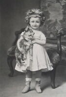 LITTLE GIRL Cute Mademoiselle Lile Puppy Dog - SUPERB 1881 Print after Gerome