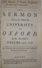 OXFORD UNIVERSITY SERMON BY WILLIAM LUPTON AT ST MARY'S IN 1706 A 1708 PAMPHLET